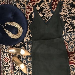 BCBG Maxazria Faux suede bodysuit/skirt combo